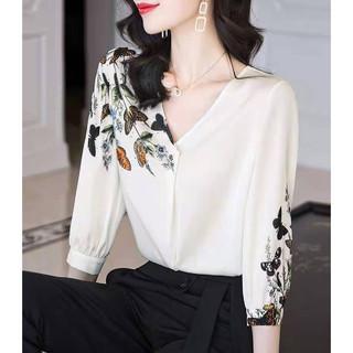 EVE 依文 2021夏季新款上衣女宽松V领七分袖雪纺衬衫洋气半袖显瘦时尚衬衣