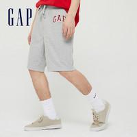 Gap男装LOGO松紧腰休闲运动短裤589665夏季新款潮流宽松裤子男 灰色 S(175/80A)