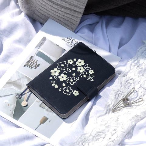 kinbor 樱花系列夜樱手帐本自填式樱花套装日历日程本布面刺绣古风手账笔记本A6手帐本