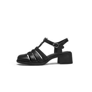 CAMEL 骆驼 女鞋2021夏新品休闲坡跟鞋子气质透气柔软时装中跟凉鞋女 黑色 37