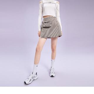 PEACEBIRD 太平鸟 半身裙女千鸟格短裙秋季带腰包设计感高腰A字裙女