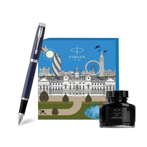 PARKER 派克 钢笔礼盒IP系列 IM蓝色白夹墨水笔+大都会伦敦礼盒