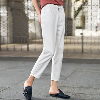 对白纯棉九分BF风牛仔裤子女时尚韩版春秋季新款复古显瘦萝卜裤