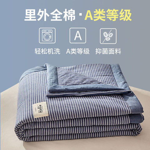 IVYKKI 艾维 里外全棉新疆棉花被夏季纯棉色织可水洗被子被芯夏凉被空调被