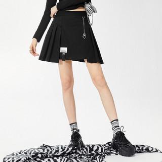 PEACEBIRD 太平鸟 半身裙女不规则设计压褶短裙2021春季新款休闲百褶裙短裙女
