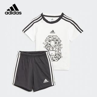 adidas 阿迪达斯 2021春夏季男婴童印花休闲训练短袖短裤两件套儿童运动套装GM8966白/黑色A104/建议身高104cm