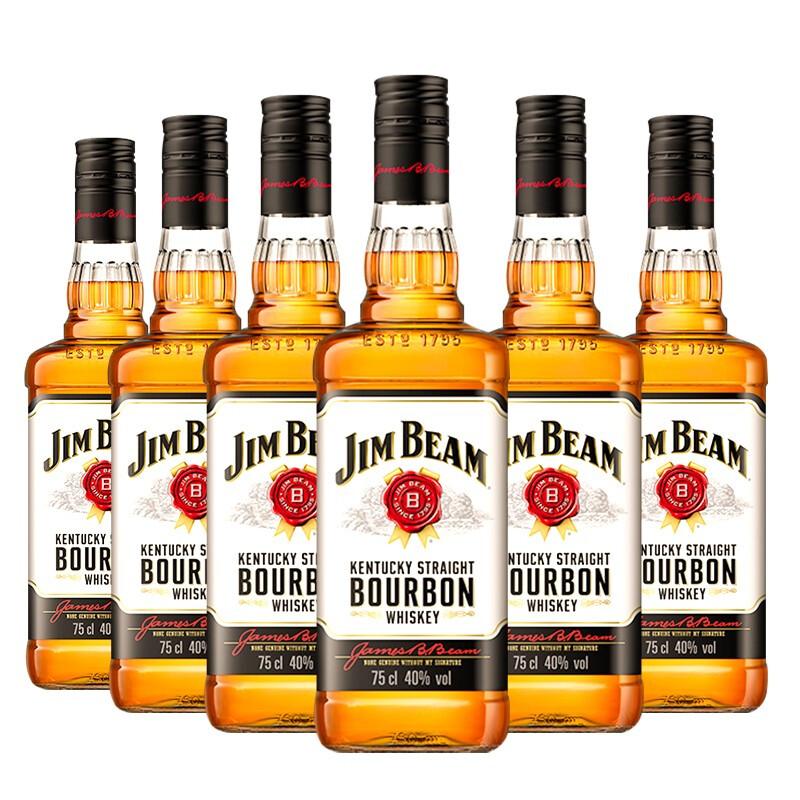 JIM BEAM 金宾 波本(Jim Beam)威士忌洋酒  750ml*6
