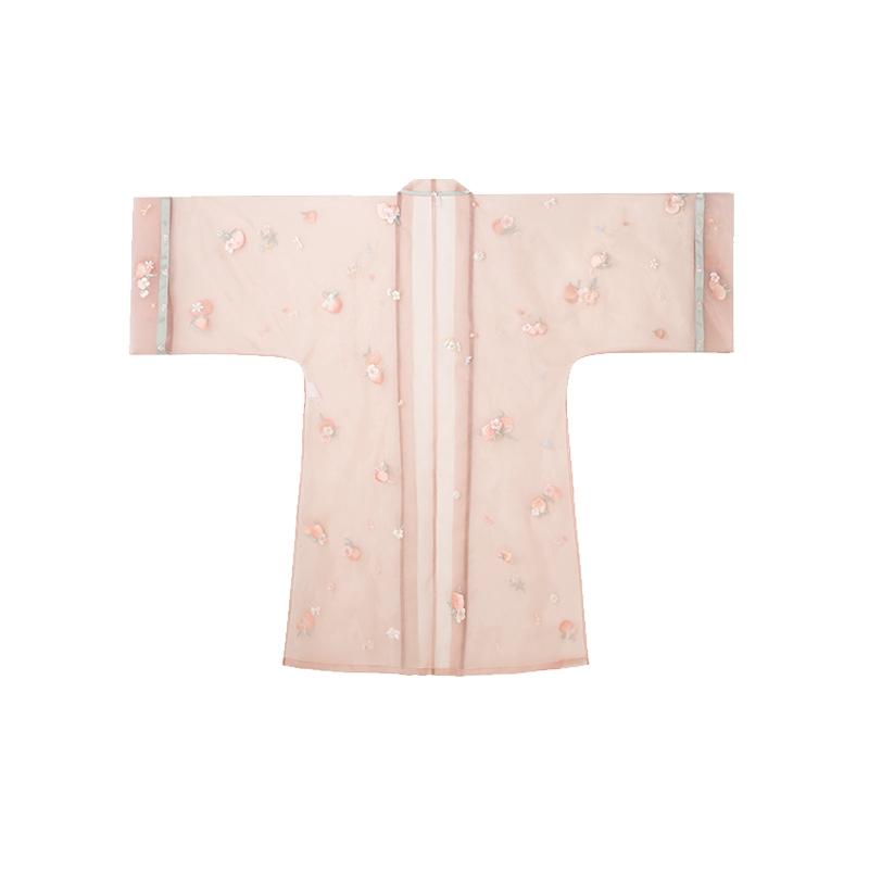 十三余 制汉服 白桃乌龙 女士直领对襟长衫 SHF151574