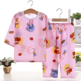 巧豆熊 儿童睡衣夏季男童女童棉绸宝宝套装绵绸空调服家居服