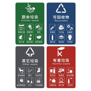 誉禾垃圾桶分类贴纸标签墙贴干湿垃圾可回收垃圾标识有害垃圾分类贴纸防水不干胶4张装15x20cm5167