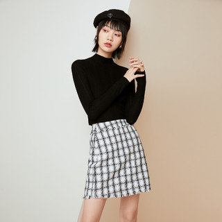 PEACEBIRD 太平鸟 羊毛局合作款镂空针织短款套头打底衫女2020新款修身针织衫