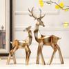 Hoatai Ceramic 华达泰 几何鹿摆件 鎏金色 一对装