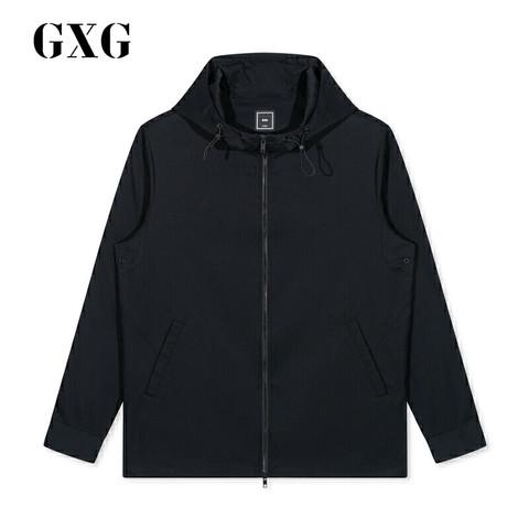 GXG 男装 秋季热卖流行黑色休闲连帽夹克外套#GA121573E