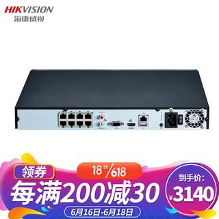 HIKVISION 海康威视 网络监控硬盘录像机 8路2盘位带网线供电 H.265编码 高清监控录像机 DS-7808NB-K2/8P 带2块6T硬盘