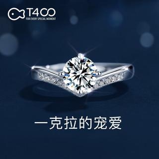 T400 一克拉莫桑钻戒指女轻奢钻戒(公主皇冠)