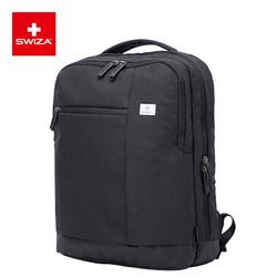 SWIZA 瑞莎 百年瑞士包双肩包男士商务15英寸笔记本电脑包多功能大容量学生休闲出差背包 黑色