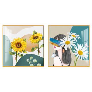 贝克鸟旗舰店 北欧风向日葵花卉卧室床头装饰画现代简约客厅壁画沙发背景墙挂画 40×40cm