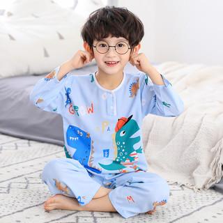 儿童棉绸睡衣夏季男童宝宝长袖绵绸男孩女童空调服薄款家居服套装