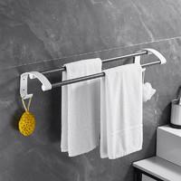 迈卡龙 免打孔毛巾架壁挂厕所太空铝双杆毛巾杆卫生间浴室带挂钩置物挂架