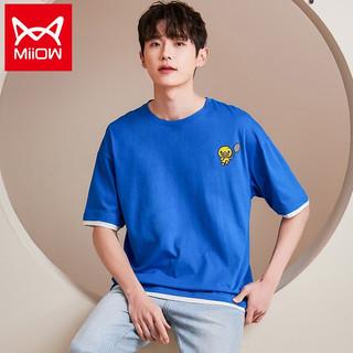 Miiow 猫人 MiiOW 核桃小鸭联名款短袖男春夏款球拍鸭鸭撞色男士T恤 宝石蓝 XL