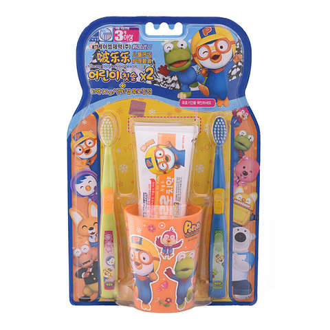 Pororo 啵乐乐pororo 韩国进口小企鹅 儿童牙刷牙膏套盒/旅行套装 牙齿护理套盒(三岁以上适用)