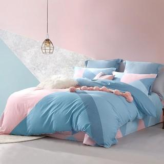 MERCURY 水星家纺 100%全棉四件套简约几何风纯棉床单被套床上用品套件