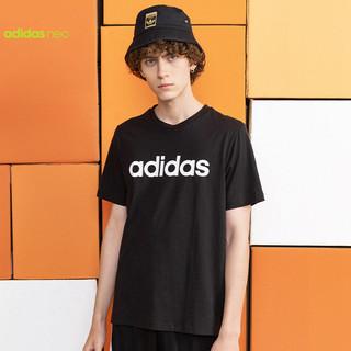 adidas 阿迪达斯 neo短袖t恤男经典款黑色纯棉夏季透气半袖情侣装GP4887