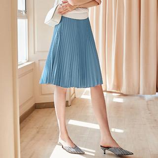 颜域夏装百搭A字半身裙简约气质优雅宽松显瘦百褶半裙