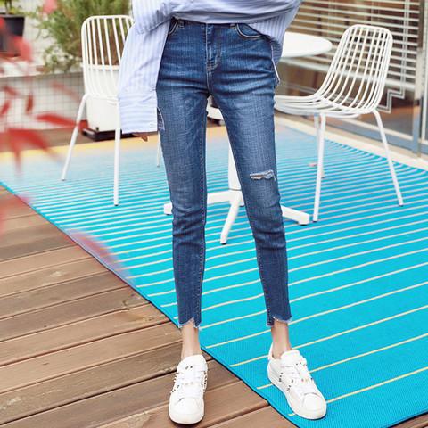 HSTYLE 韩都衣舍 2021新款女装韩版修身小脚铅笔九分裤显瘦高腰牛仔裤