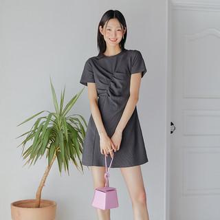 HSTYLE 韩都衣舍 短袖裙子女2021夏新款女装可甜可盐小个子连衣裙