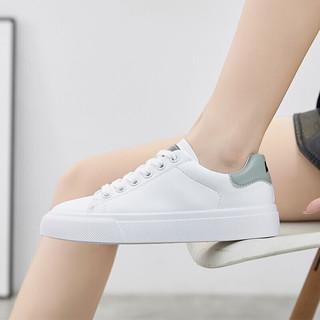 WARRIOR 回力 潮流低帮板鞋皮面休闲小白鞋 学生室外防滑软底跑步鞋女 WXY-L010N 白绿 37