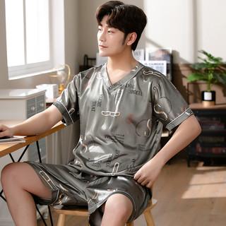 CJZ 夏季冰丝睡衣男短袖两件套装夏天仿真丝薄款学生宽松休闲家居服潮