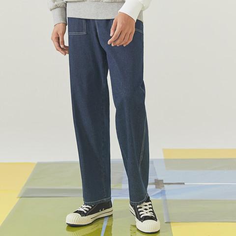 Meters bonwe 美特斯邦威 牛仔裤男潮趣印花牛仔阔腿裤(有加长版)男式牛仔裤
