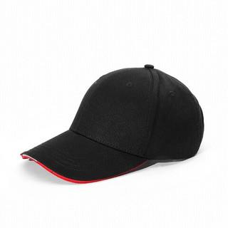 BABAMA 帽子男女情侣棒球帽鸭舌帽韩版防晒帽简约经典潮流户外遮阳帽 可调节黑色 均码