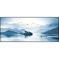 轩色 手绘油画新中式客厅装饰画山水画  40x100cm 油画布 黑色铝合金画框