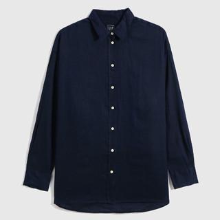 Gap 盖璞 女装亚麻通勤休闲长袖衬衫660952 2021夏季新款纯色轻薄上衣女