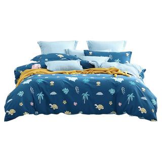 Bliss 百丽丝家纺 全棉四件套 水洗印花床单被套  1.8m