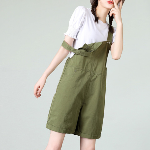 La Chapelle 拉夏贝尔 21夏季新款背带薄款工装裤女直筒休闲宽松短裤连体裤女