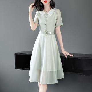 XWI 女款双层翻领时尚收腰气质优雅拼网纱裙子