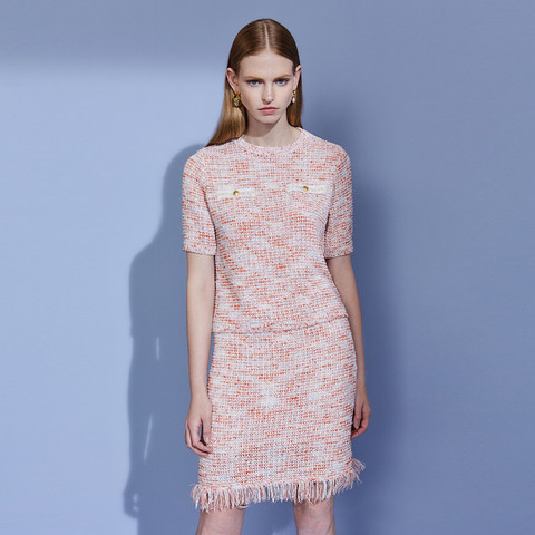 ochirly 欧时力 黑标系列 欧时力夏装小香风针织衫半身裙套装女