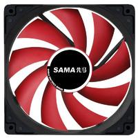 SAMA 先马 无光静音机箱风扇 12CM 黑框红叶