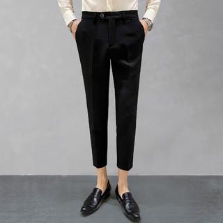 LOUIS ROYER 利蜂 夏季新款男士宽松薄款小脚西装裤商务休闲纯色百搭男式九分裤子