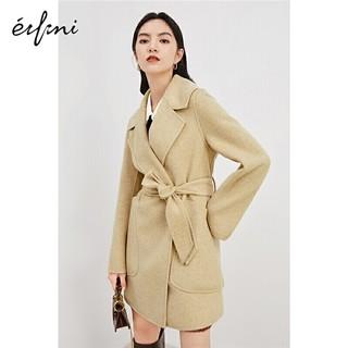 eifini 伊芙丽 气质毛呢外套2020冬季韩版束腰中长款双面呢羊毛大衣女