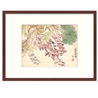橙舍 恽寿平 姹紫嫣红《香林紫雪图》 装裱45x60cm 宣纸 雅致红褐