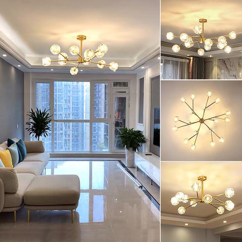 希尔顿灯具 后现代吊灯全铜轻奢简约北欧客厅餐厅卧室水晶灯具灯饰分子灯大气