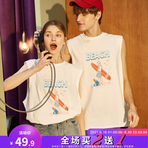 TONLION 唐狮 2020夏装新款情侣装背心白色外穿无袖T恤打底男女韩版宽松潮