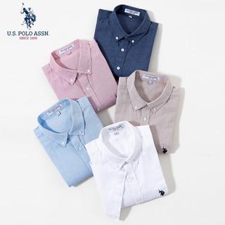 U.S. POLO ASSN. 美国马球协会 男士棉麻短袖衬衫舒适商务青年衬衣男