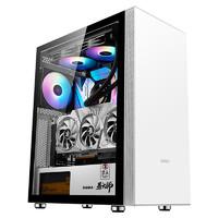先马(SAMA)易大师精钢版 台式电脑主机箱 简约设计/钢化玻璃全景侧透/支持ATX主板、竖装显卡 易大师精钢版 白