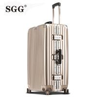 SGG 铝框拉杆箱20寸登机箱万向轮ins网红行李箱女24寸复古旅行箱26寸学生密码箱韩版潮男皮箱