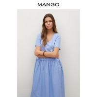 MANGO 芒果 女装连衣裙2021春夏新款棉质荷叶边短袖喇叭款设计连衣裙